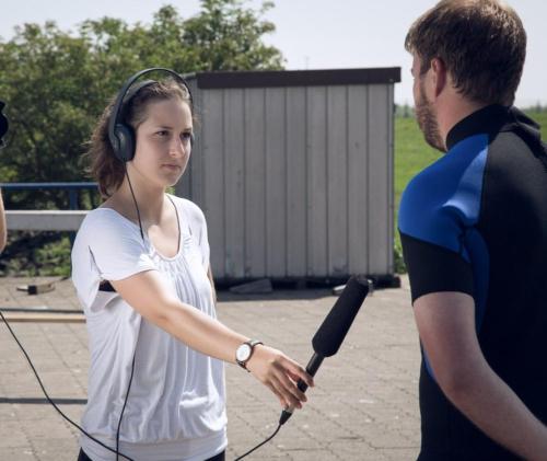 Interview-Situation beim Dreh für einen Produktfilm.