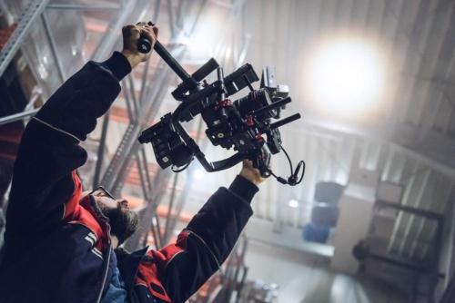 Imagefilm-Dreh im Kühlhaus. Der Gimbal kommt zur Kamera-Stabilisierung zum Einsatz.